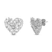 Cubic Zirconia Baguette Heart or Star Stud Earrings in Rhodium Plated Sterling Silver