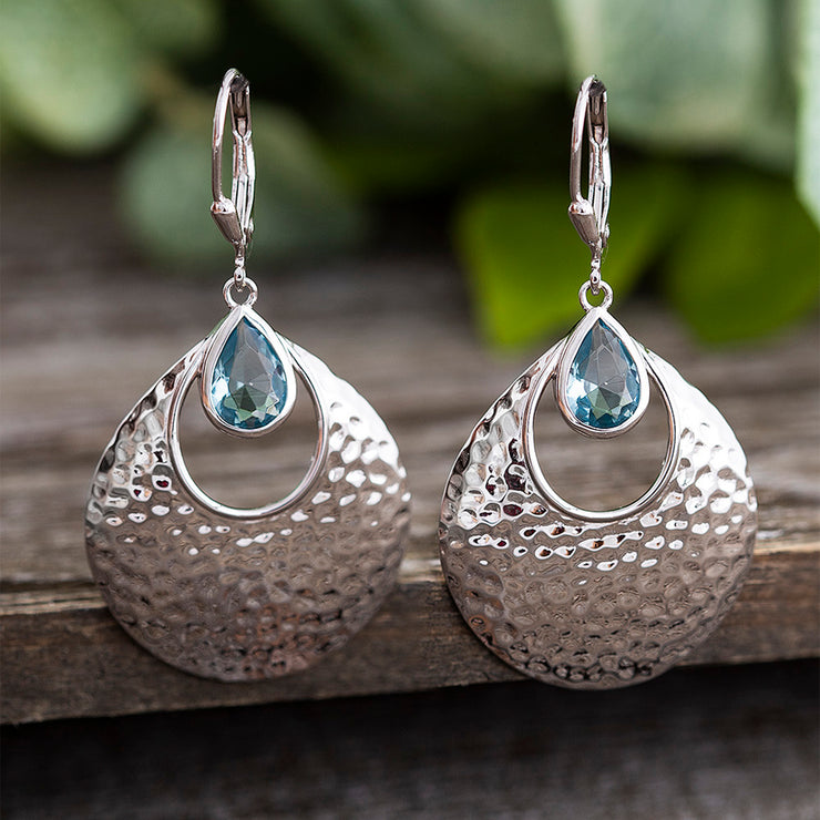 Hammered Sterling Silver Simulated Aquamarine Teardrop Dangle Earrings