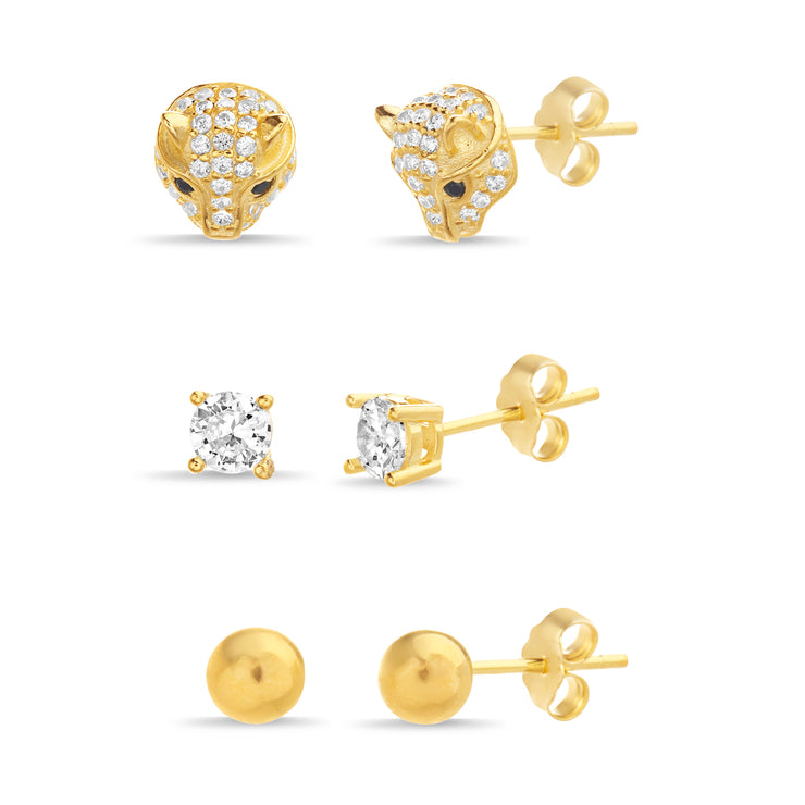 Cubic Zirconia Stud Trio Earring Set in Yellow Gold Plated Sterling Silver