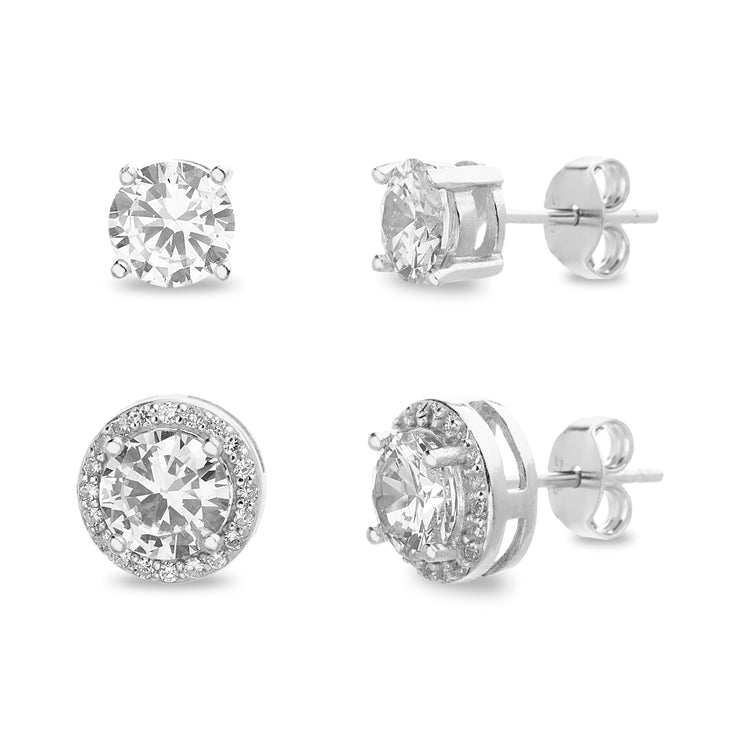 Cubic Zirconia Halo 2 Pair Stud Earring Set in Rhodium Plated Sterling Silver