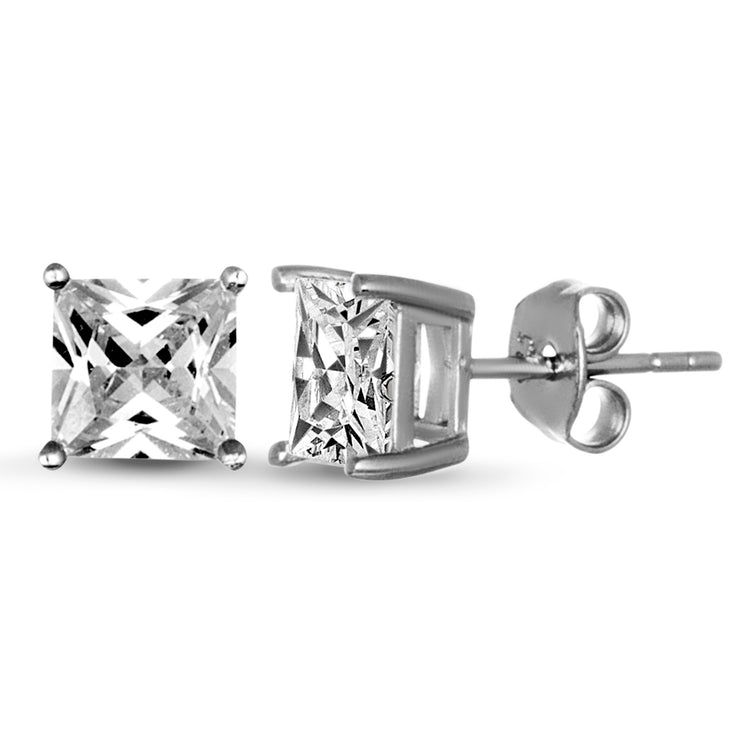 Princess Cut 6mm Cubic Zirconia Stud Earring in Rhodium Plated Sterling Silver