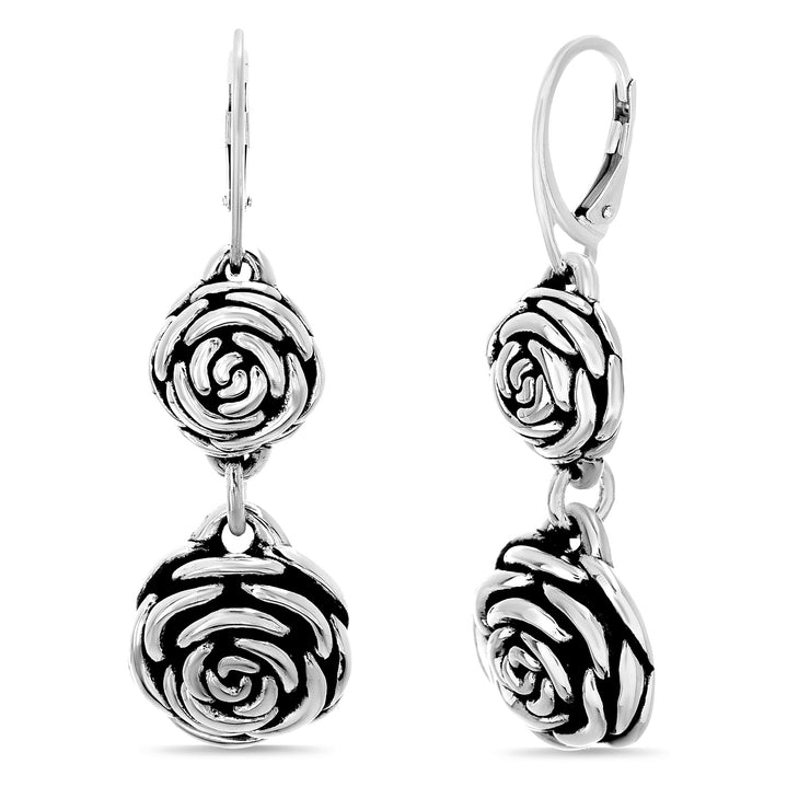 High Polished Oxidized Sterling Silver Rose Lever Back Dangle Earrings