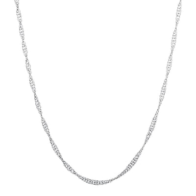 "22""  2.2mm Singapore Chain Necklace in Rhodium Plated Sterling Silver"