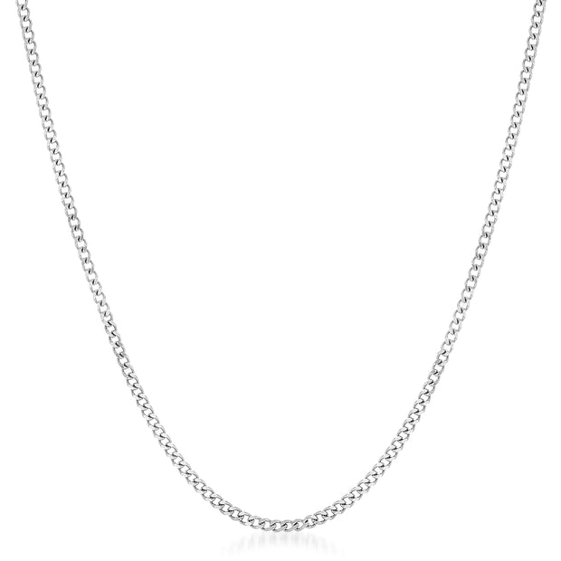 "20"", 22"", or 24"" Heavy Curb Chain Necklace  in Rhodium Plated 925 Sterling Silver"