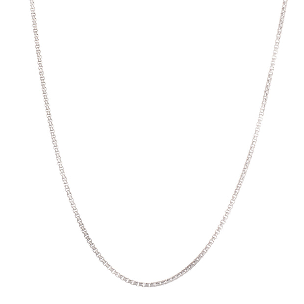 "22"" 1.5mm Box Chain Necklace in Rhodium Plated Sterling Silver"