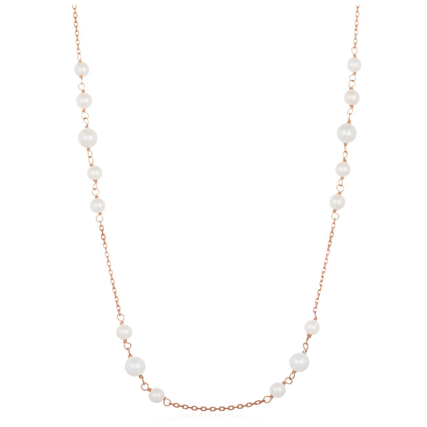 Freshwater Cultured Pearl Station Necklace in Rose Gold Plated Sterling Silver