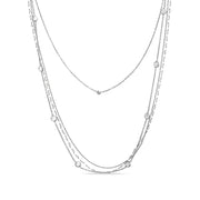 Cubic Zirconia and Freshwater Cultured Pearl Multi Row Adjustable Station Necklace in Sterling Silver