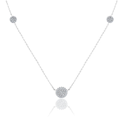 "30"" Cubic Zirconia Pave Disc Station Necklace in Rhodium Plated Sterling Silver"