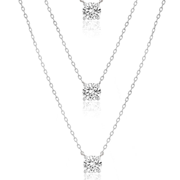Cubic Zirconia 3 Row Layered Necklace in Rhodium Plated Sterling Silver