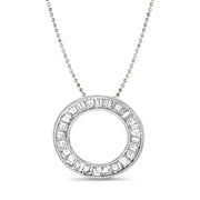 "Baguette Channel Set Cubic Zirconia Circle Pendant on 24"" Necklace in Rhodium Plated 925 Sterling Silver"