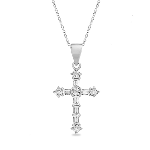 Round and Baguette Cross Necklace in Sterling Silver