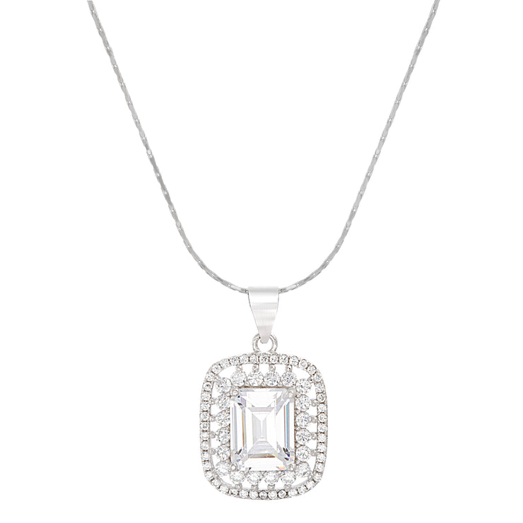 Emerald Cut Cubic Zirconia Antique Style Necklace in Sterling Silver