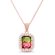 Emerald Cut Prong Set Simulated Watermelon Tourmaline and Round Cubic Zirconia Pendant on Adjustable Bridal Necklace for Women in Rose Gold Plated 925 Sterling Silver