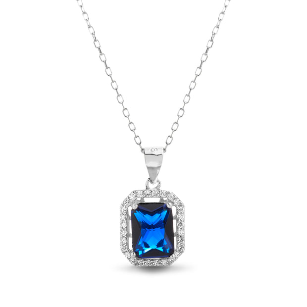 Simulated Blue Sapphire and CZ Pendant in Rhodium Plated Sterling Silver
