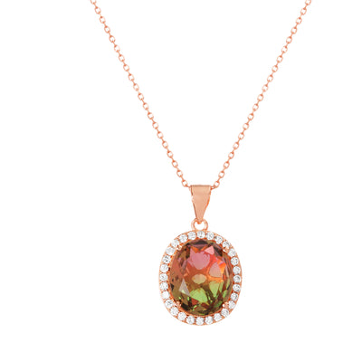 Simulated Watermelon Tourmaline and Cubic Zirconia Oval Halo Pendant Necklace in Rose Gold Plated Sterling Silver