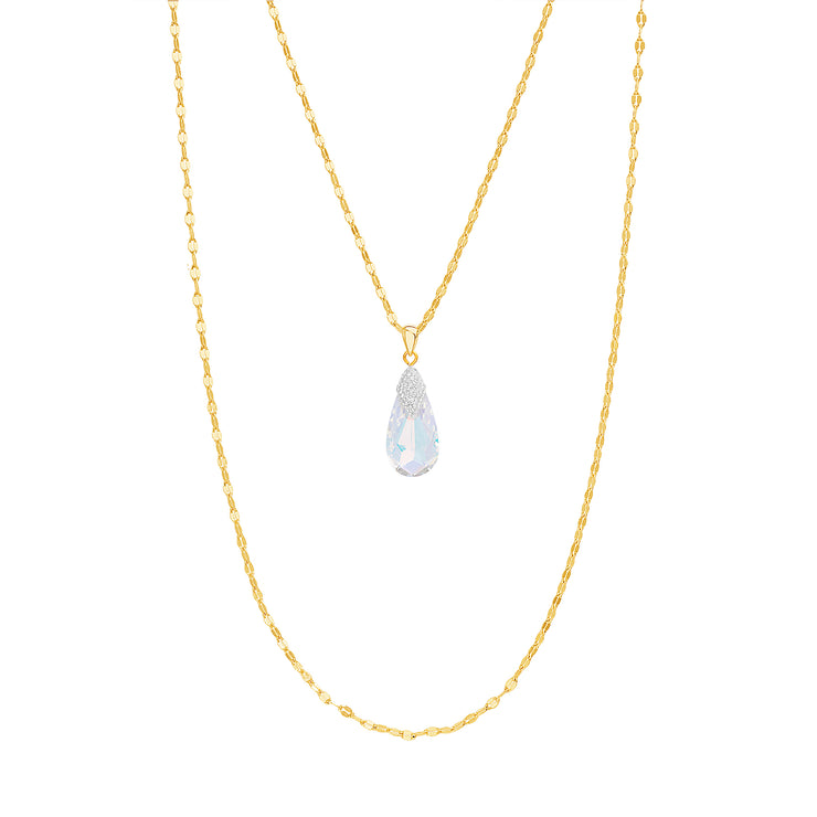 Double Strand Yellow Gold Plated Sterling Silver Aurore Boreale Swarovski Crystal Teardrop Necklace