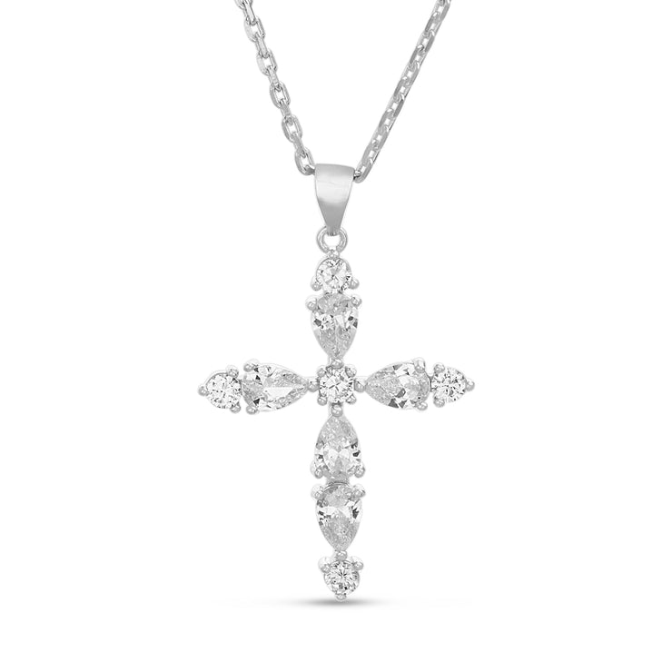Simulated Gemstone and Cubic Zirconia Cross Necklace in Rhodium Plated Sterling Silver