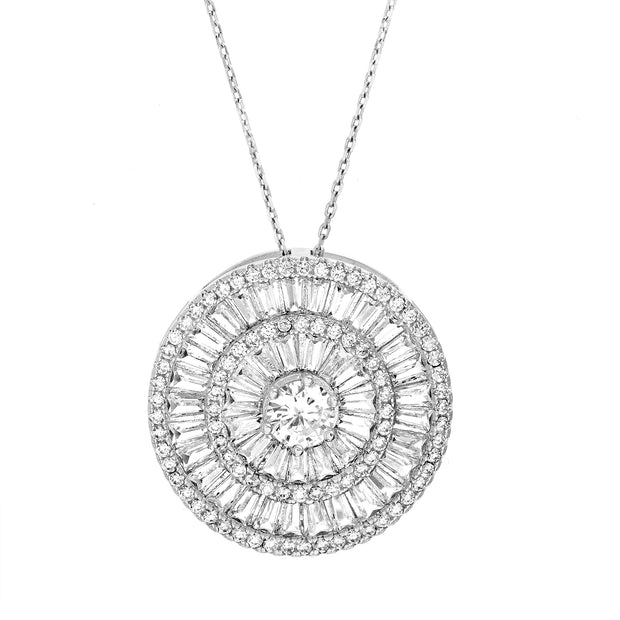 Baguette Cubic Zirconia Circle Necklace in Rhodium Plated Sterling Silver