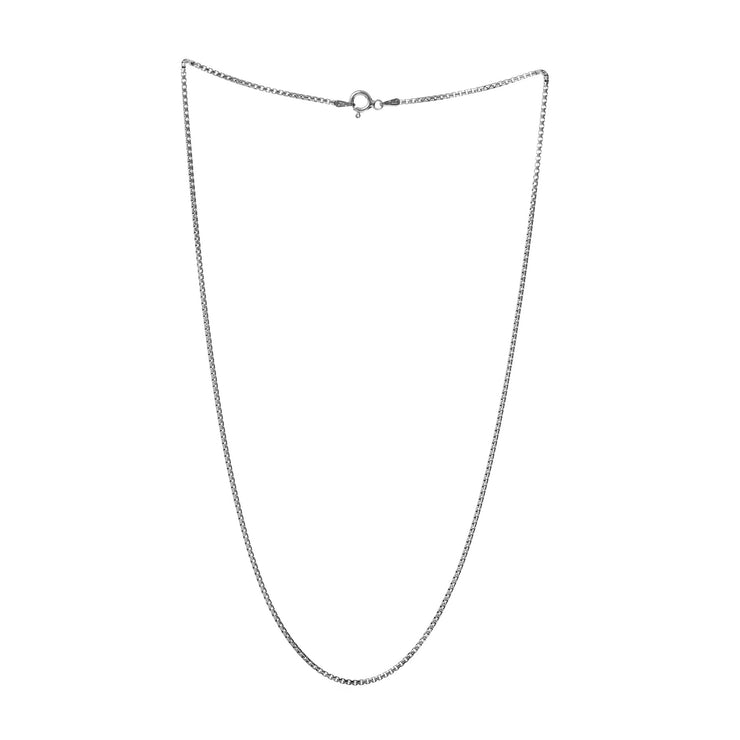 1.5mm Round Box Chain Necklace in Rhodium Plated Sterling Silver