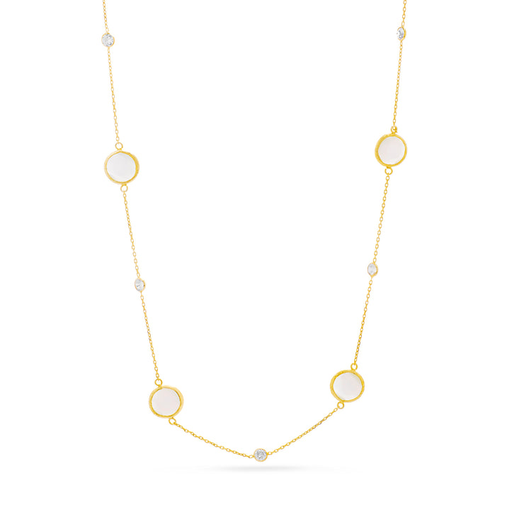 Cubic Zirconia & Cat Eye Station Necklace in Yellow Gold Plated Sterling Silver