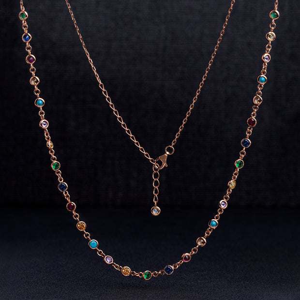Rainbow Cubic Zirconia By the Yard Necklace in Rose Gold Plated Sterling Silver