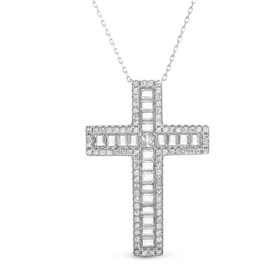 Baguette Cubic Zirconia Cross Necklace in Rhodium Plated Sterling Silver