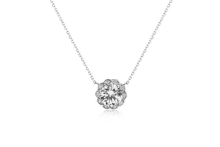 Round Prong Set Cubic Zirconia Antique Style Halo Bridal Pendant on Adjustable Station Necklace for Women in Rhodium Plated 925 Sterling Silver