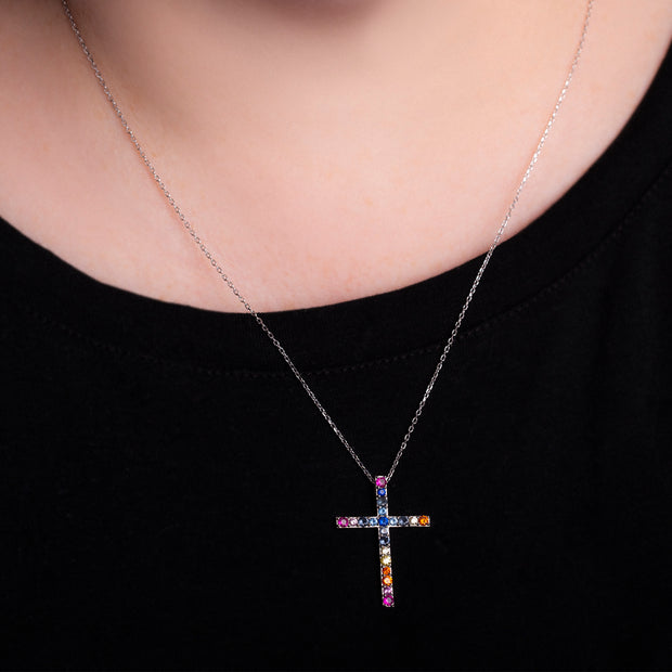Rainbow Cubic Zirconia Cross Necklace in Rhodium Plated Sterling Silver