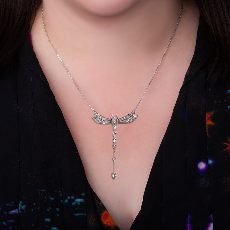 Dangling Cubic Zirconia Dragonfly Necklace in Sterling Silver