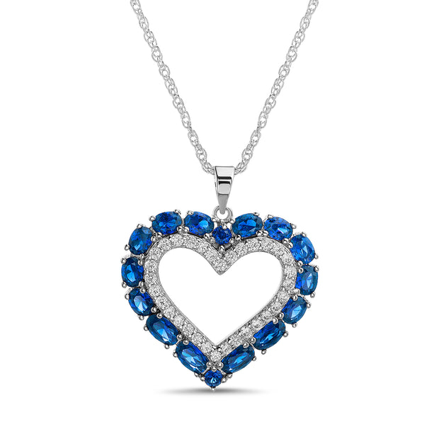 Simulated Gemstone and Cubic Zirconia Heart Necklace in Rhodium Plated Sterling Silver
