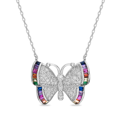 Rainbow Cubic Zirconia Butterfly Necklace in Rhodium Plated Sterling Silver