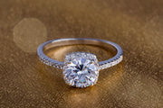 Cushion Shaped Halo CZ Engagement Ring in Rhodium Plated Sterling Silver