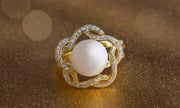 Freshwater Cultured Pearl and Cubic Zirconia Swirl Ring in Yellow Gold Plated Sterling Silver
