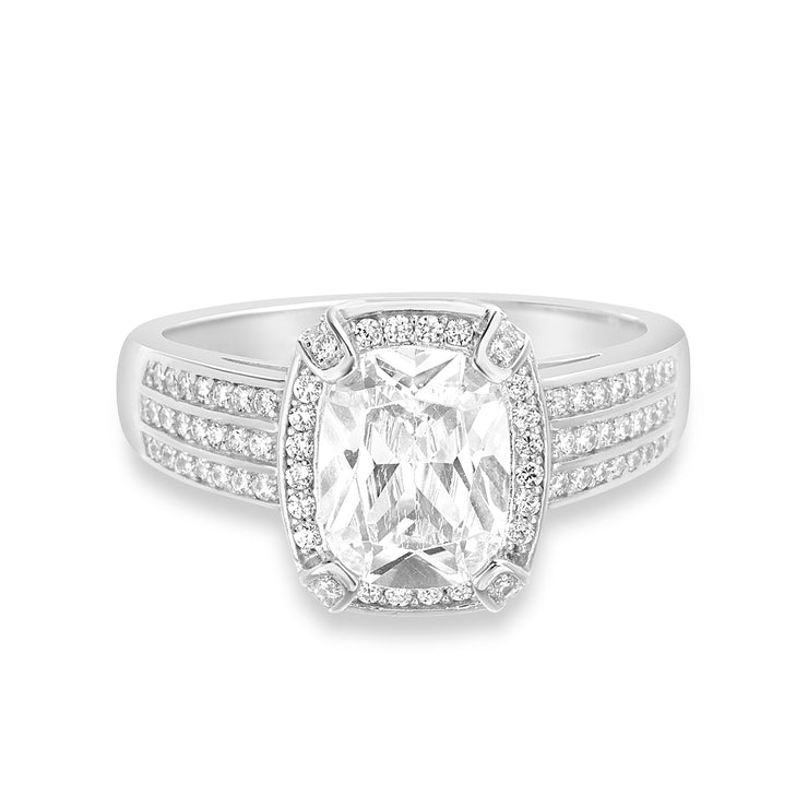 Radiant Cut Cubic Zirconia Halo Engagement Ring in Sterling Silver