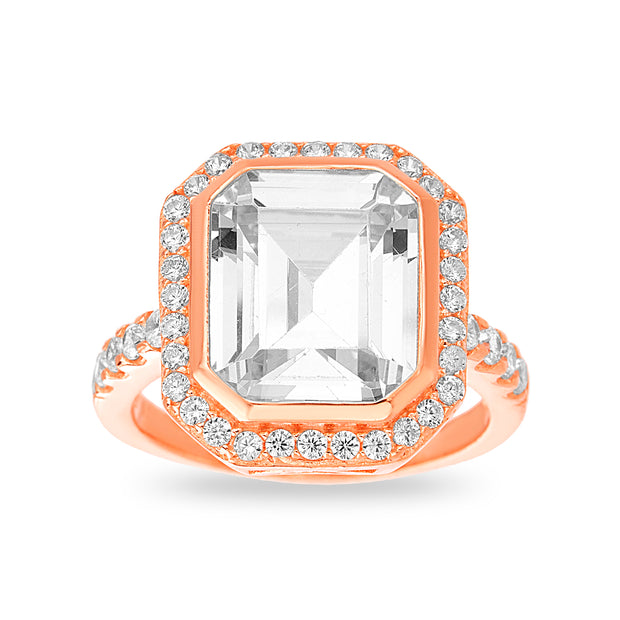 Emerald Cut Cubic Zirconia Statement Ring in Rose Gold Plated Sterling Silver