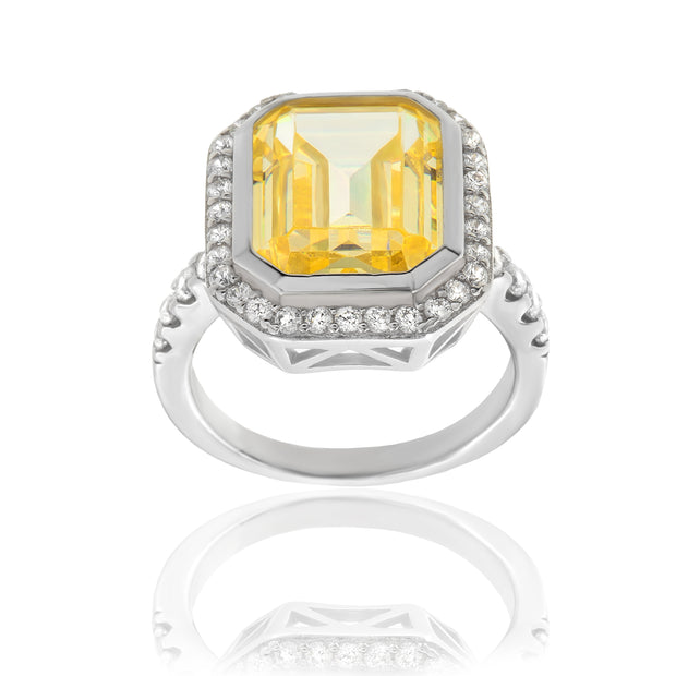 Simulated Yellow Diamond Engagement Ring in Rhodium Plated Sterling Silver