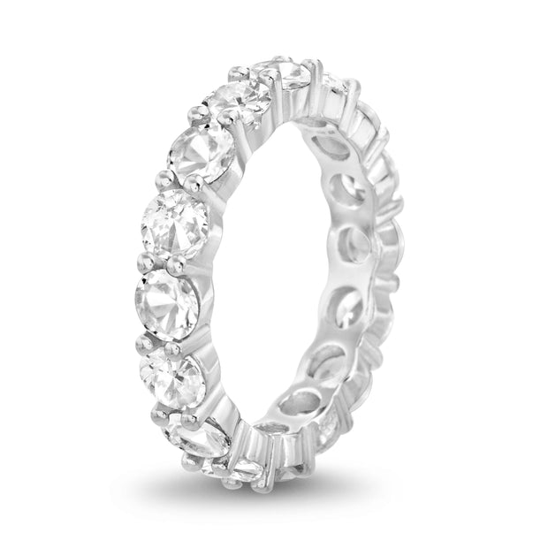 Cubic Zirconia Eternity Band Ring in Sterling Silver