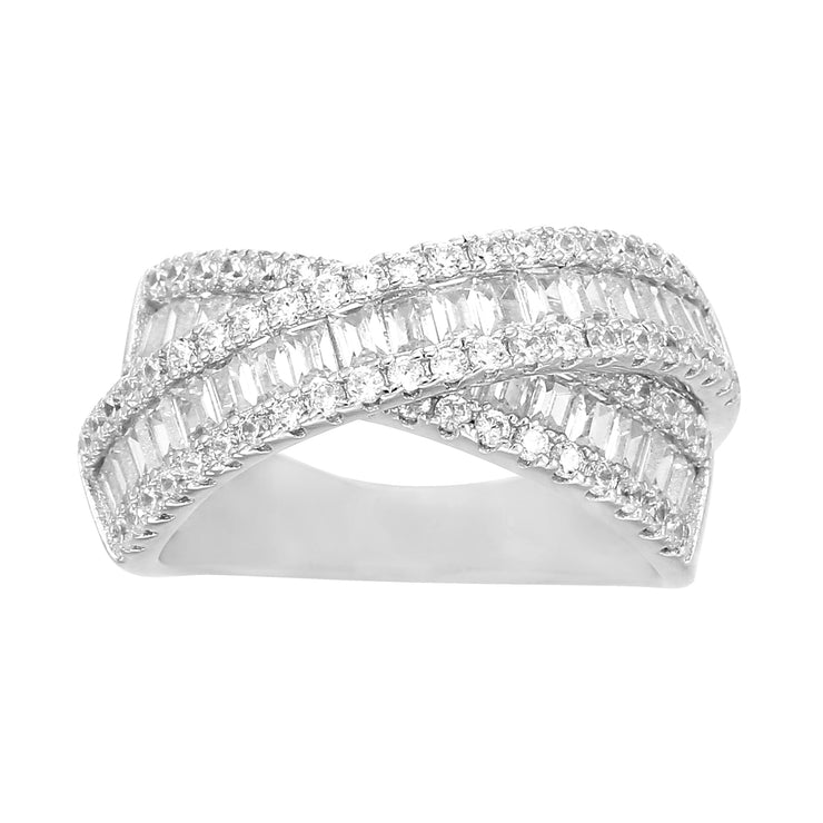 Baguette and Round Cubic Zirconia Crossover Band Ring in Rhodium Plated Sterling Silver