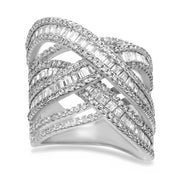 Baguette and Round Cubic Zirconia Crossover Band Ring in Sterling Silver