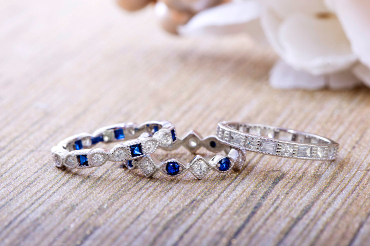 Simulated Blue Sapphire and Cubic Zirconia Antique Style Eternity Band Set in Rhodium Plated Silver