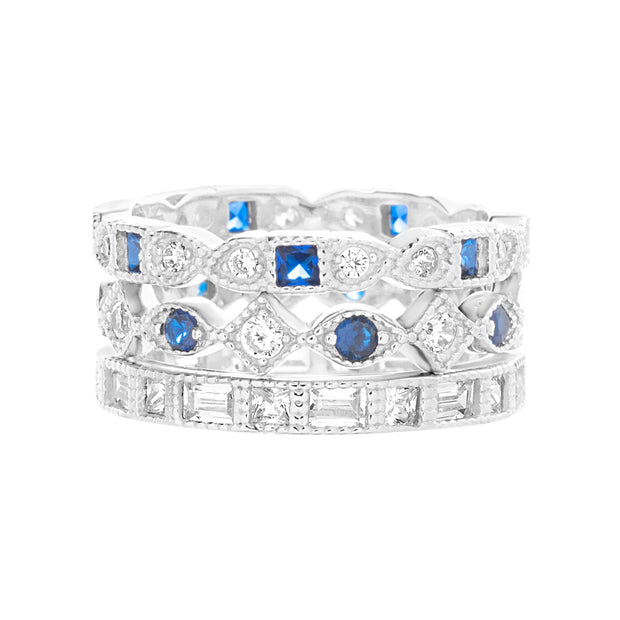 Round and Square Bead Set Simulated Blue Sapphire and Cubic Zirconia Antique Style Eternity Band 3pc Bridal Ring Set for Women in Rhodium Plated 925 Sterling Silver
