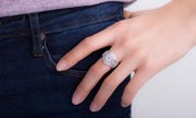 Cubic Zirconia Prong Halo Ring in Rhodium Plated Sterling Silver
