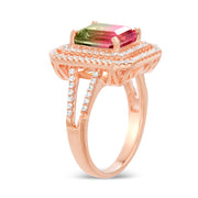 Emerald Cut Simulated Watermelon Tourmaline and Cubic Zirconia Halo Ring in Rose Gold Plated Silver