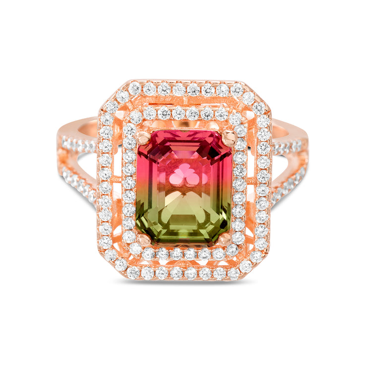 Emerald Cut Prong Set Simulated Watermelon Tourmaline and Round Cubic Zirconia Halo Cocktail Ring for Women in Rose Gold Plated 925 Sterling Silver
