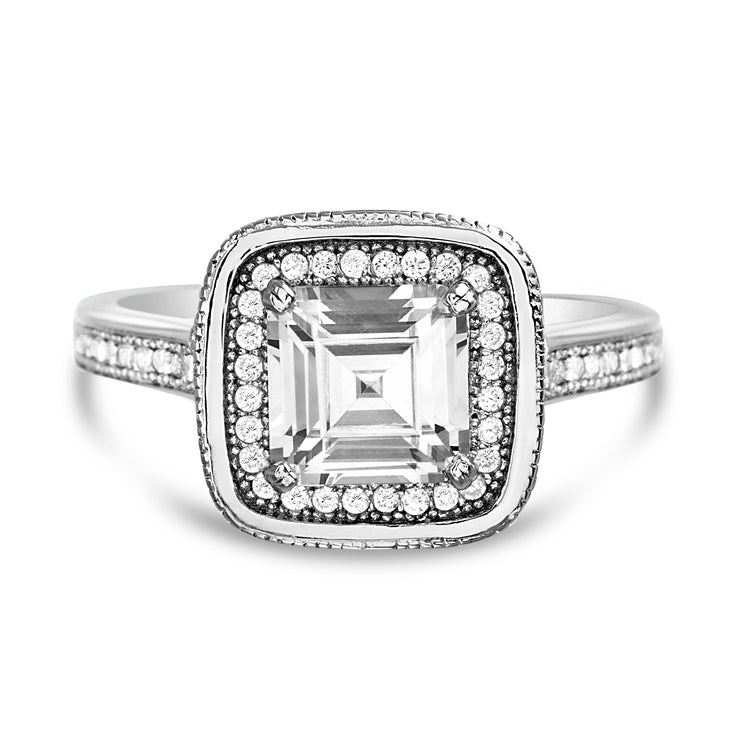 Square Emerald Cut Cubic Zirconia Halo Engagement Ring in Rhodium Plated Sterling Silver