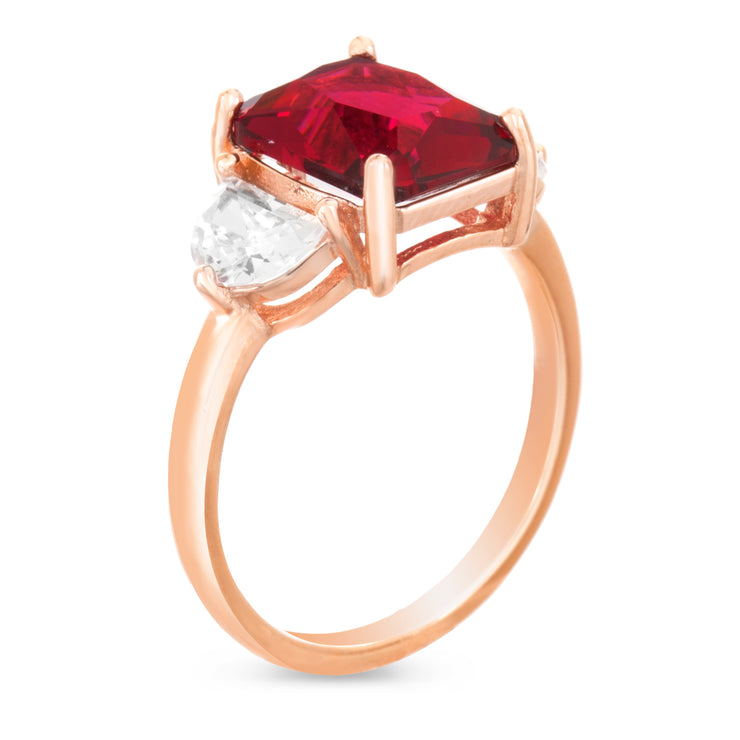 Radiant and Half Moon Shaped Simulated Ruby and Cubic Zirconia Ring in Rose Gold Plated Silver