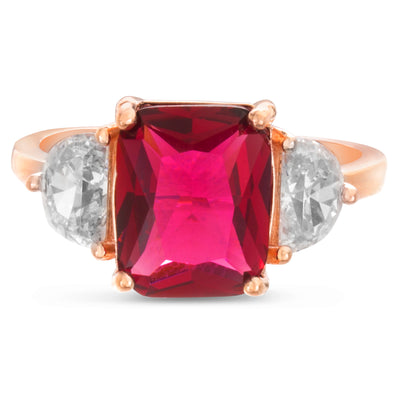Radiant and Half Moon Shaped Prong Set Simulated Ruby and Cubic Zirconia Cocktail Ring for Women in Rose Gold Plated 925 Sterling Silver