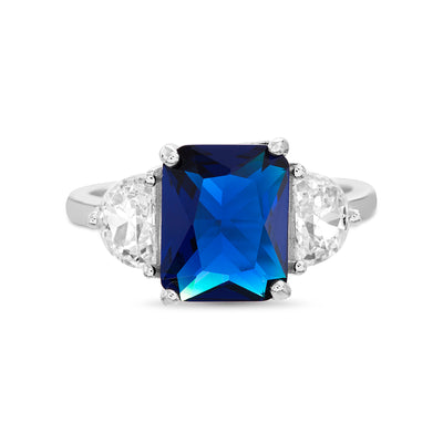 Radiant Cut  Simulated Blue Sapphire and Half Moon Cubic Zirconia Cocktail Ring for Women in Rhodium Plated 925 Sterling Silver