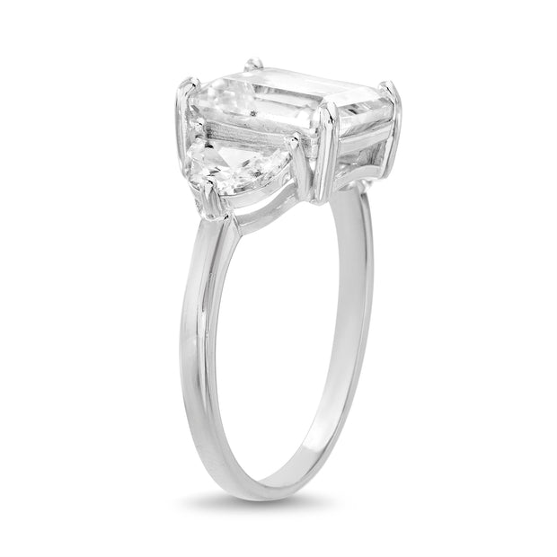 Radiant and Half Moon Shaped Cubic Zirconia Ring in Rhodium Plated Silver