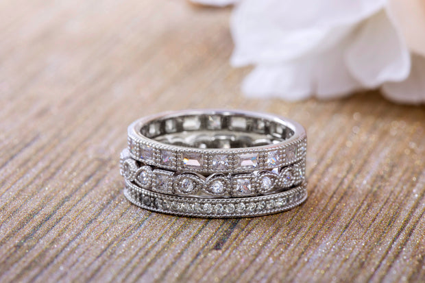 Round Bead Set Cubic Zirconia Antique Style Eternity Band 3pc Ring Set in Rhodium Plated Silver